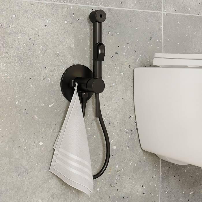 Фото Встраиваемый смеситель с гигиеническим душем, матовый IDDIS Spring 003BLR0i08, черный 2