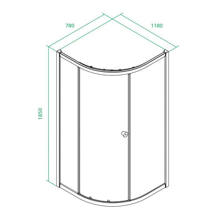Фото Дверки душевые полукруглые, глянцевый стекло прозрачное, поддон низкий, 120x80x185 см, IDDIS Mirro M70R128i23, хром 2