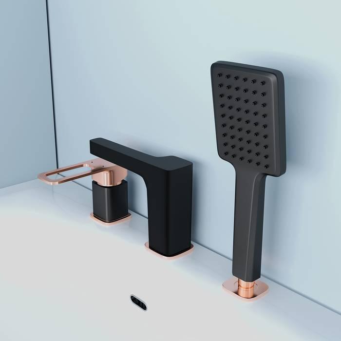 Фото Смеситель на борт ванны на 3 отверстия с керамическим дивертором, IDDIS Slide SLIBG30i07, черный 5