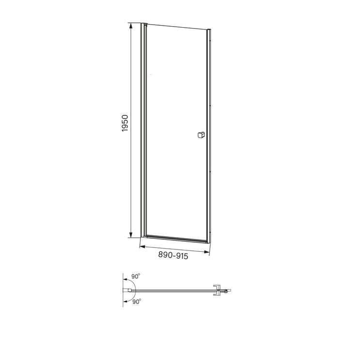 Фото Душевая дверь распашная, глянцевый алюминиевый профиль 90х195, IDDIS Ray RAY6CP9i69 5