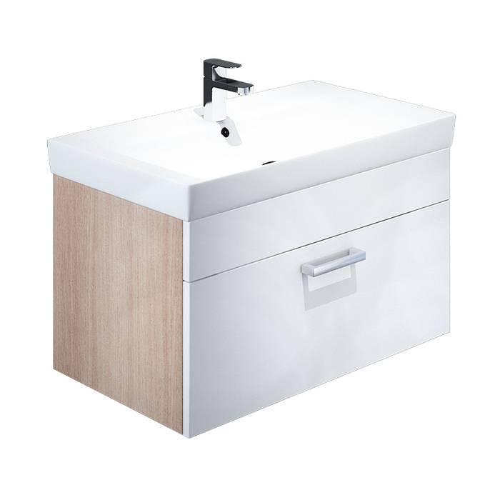 Фото Тумба с умывальником для ванной комнаты, подвесная, 80 см, IDDIS Mirro MIR80W0i95K, белая/под дерево 0