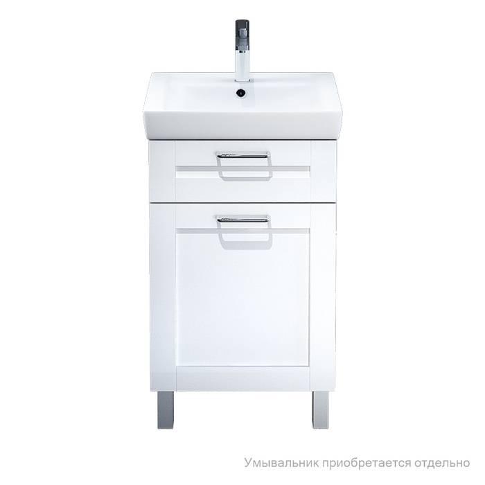 Фото Тумба для ванной комнаты, напольная, 50 см, подходит умывальник 0035000i28 IDDIS Sena SEN50W1i95, белая/под дерево 1