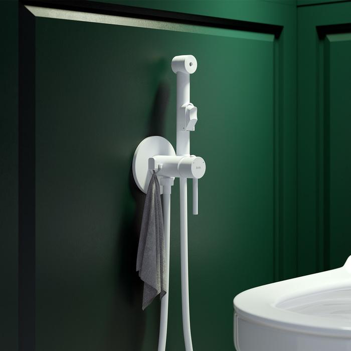 Фото Встраиваемый смеситель с гигиеническим душем, белый матовый, IDDIS, 003WTR0i08 1