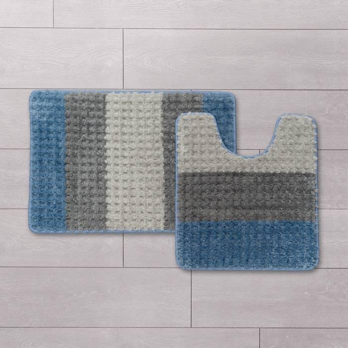 Фото Набор ковриков для ванной комнаты, 45x65 + 45x50 см, микрофибра, IDDIS Promo P36M465i12 1