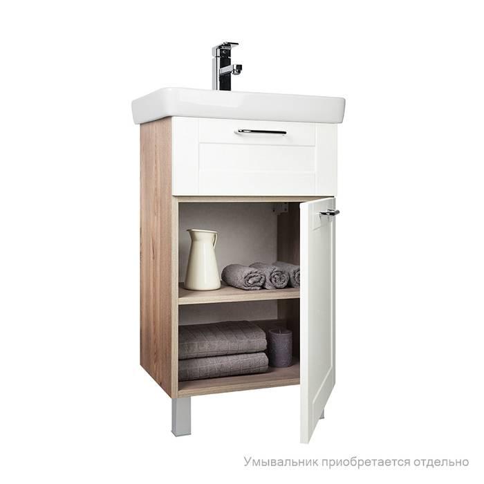 Фото Тумба для ванной комнаты, напольная, 50 см, подходит умывальник 0035000i28 IDDIS Sena SEN50W1i95, белая/под дерево 3