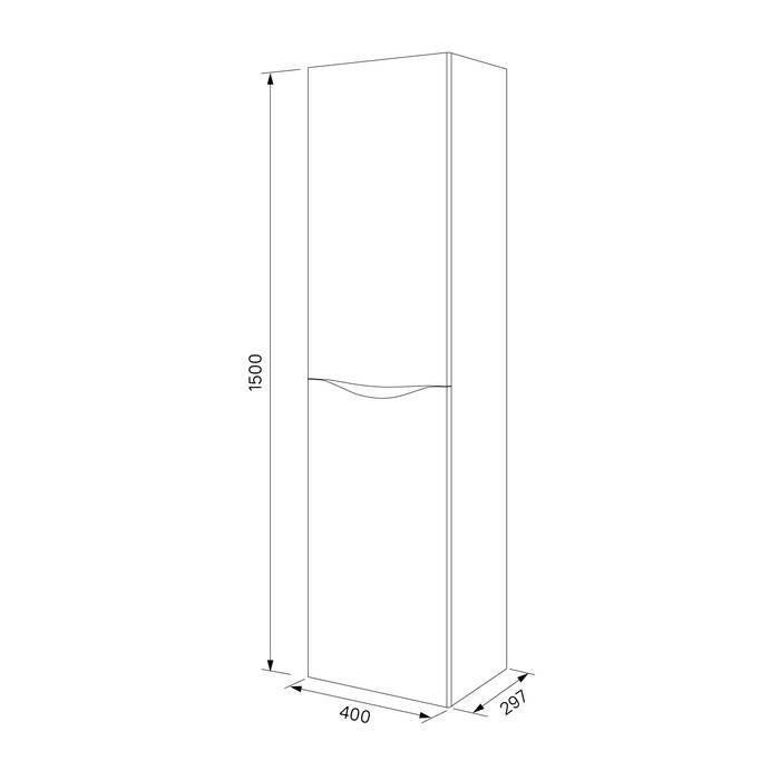Фото Пенал для ванной комнаты, подвесной, 40 см, IDDIS Calipso CAL4000i97, белый 4