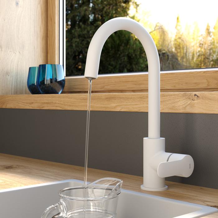 Фото Смеситель для кухни с каналом для фильтрованной воды, белый матовый, Cuba, IDDIS, CUBWTFJi05 2
