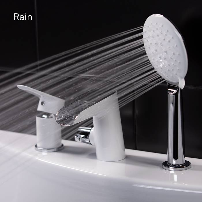 Фото Смеситель на борт ванны на 3 отверстия с керамическим дивертором, каскадный излив, IDDIS Cloud CLOSB3Ki07 4