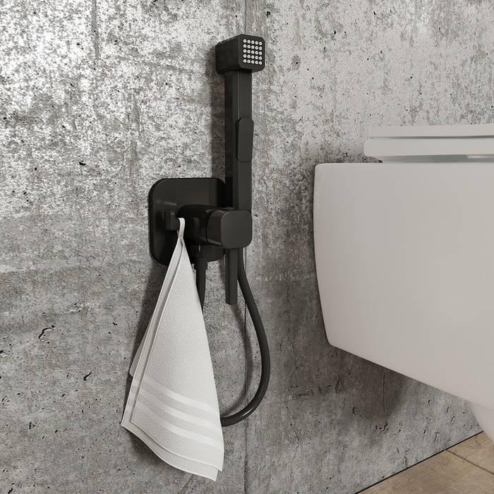 Фото Встраиваемый смеситель с гигиеническим душем IDDIS Spring 004BLS0i08, матовый черный 2