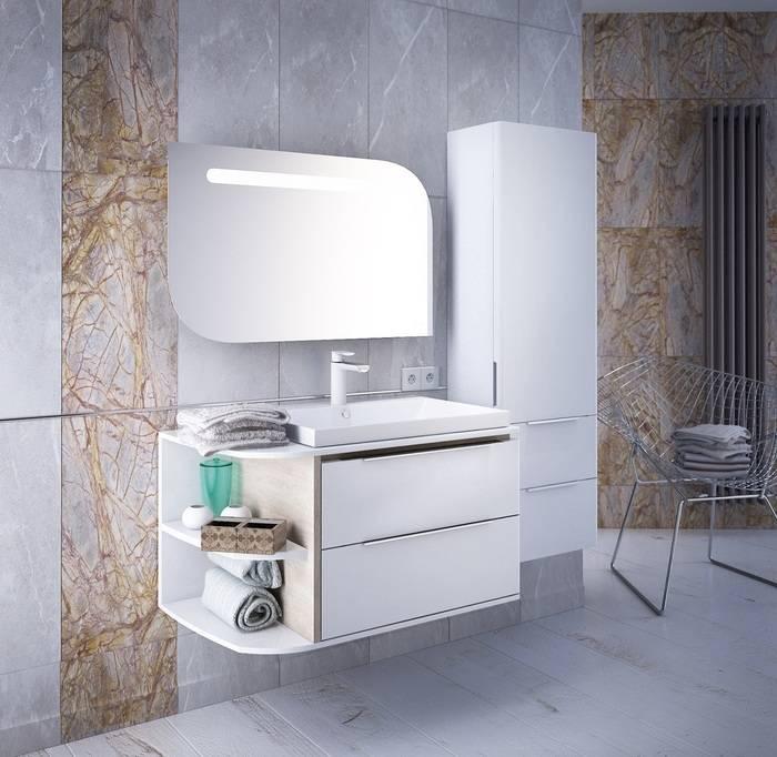 Фото Тумба для ванной комнаты, подвесная, 80 см, подходит умывальник 0066000i28 IDDIS Calipso CAL80W0i95, белая/под дерево 2