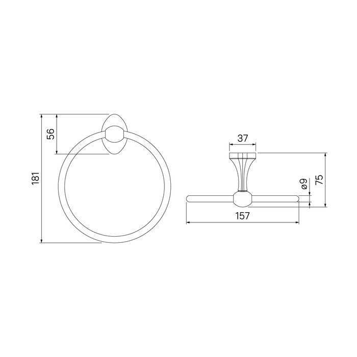 Фото Полотенцедержатель кольцо, сплав металлов, IDDIS Male MALSSO0i51, глянцевый хром 3