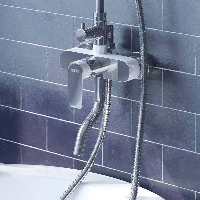 Фото Смеситель для ванны с верхним душем, IDDIS Cloud CLOSB00i06, хром/белый 2