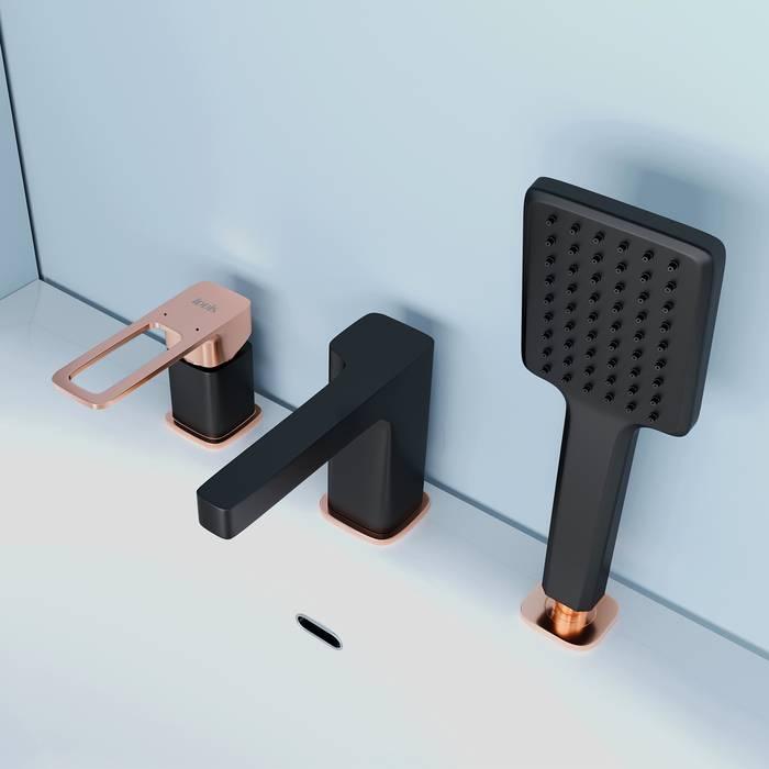 Фото Смеситель на борт ванны на 3 отверстия с керамическим дивертором, IDDIS Slide SLIBG30i07, черный 2