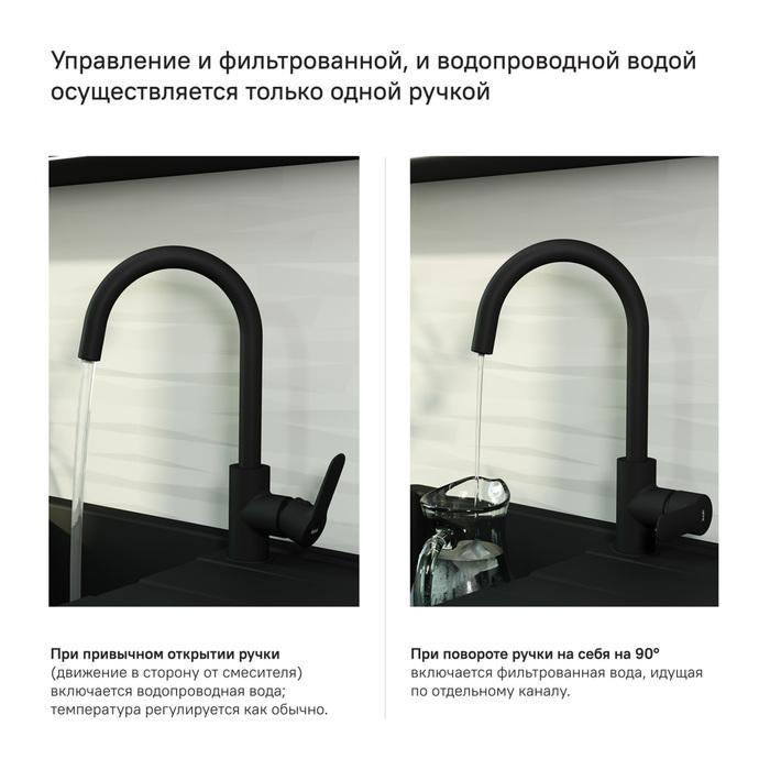Фото Смеситель для кухни с каналом для фильтрованной воды, IDDIS Cuba CUBBLFJi05, черный 2