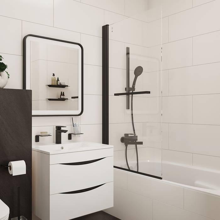 Фото Шторка на ванну, алюминиевый профиль 75х145, IDDIS Slide SLI5BS7i90, черный 6