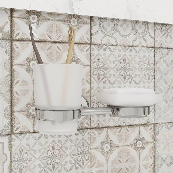 Фото Подстаканник и мыльница матовое стекло, латунь, IDDIS Calipso CALMBG0i57 1