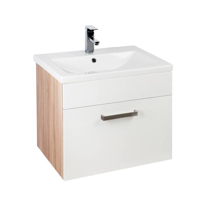 Фото Тумба с умывальником для ванной комнаты, подвесная, 60 см, IDDIS Mirro MIR60W0i95K, белая/под дерево 0