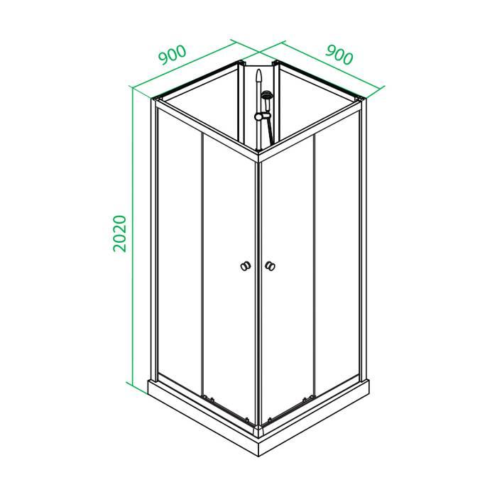 Фото Кабина душевая квадратная, дверки двойные раздвижные, профиль глянцевый стекло прозрачное, 90x90x202 см, поддон низкий, IDDIS Sicily S10S099i21 2