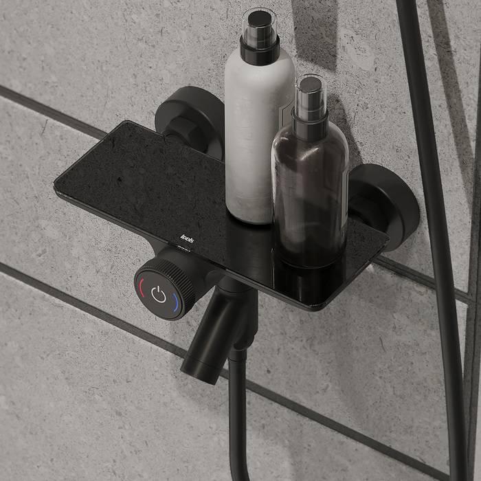 Фото Смеситель для ванны с управлением IDDIS Shelfy SHEBLBTi02WA, черный матовый 1