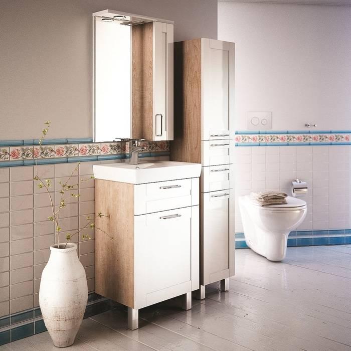 Фото Тумба для ванной комнаты, напольная, 50 см, подходит умывальник 0035000i28 IDDIS Sena SEN50W1i95, белая/под дерево 2