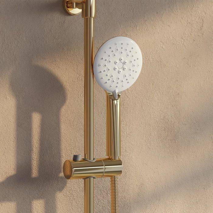 Фото Смеситель для ванны с верхним душем, IDDIS Cloud CLOWG00i06, золото/белый 3