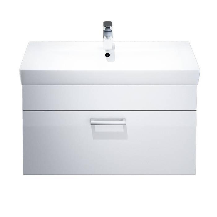 Фото Тумба с умывальником для ванной комнаты, подвесная, 80 см, IDDIS Mirro MIR80W0i95K, белая/под дерево 1