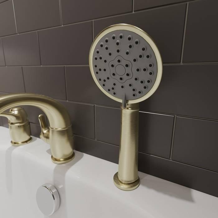 Фото Смеситель на борт ванны на 3 отверстия с керамическим дивертором, IDDIS Oldie OLDBR30i07, бронза 2