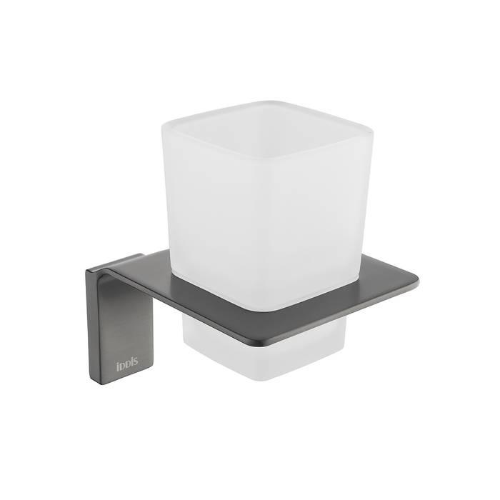 Фото Подстаканник одинарный матовое стекло, сплав металлов, IDDIS Slide SLIGMG1i45, графит 0