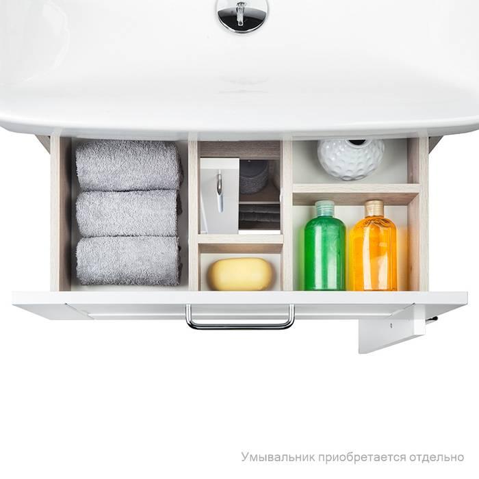 Фото Тумба для ванной комнаты, напольная, 60 см, подходит умывальник 0036000i28 IDDIS Sena SEN60W2i95, белая/под дерево 4