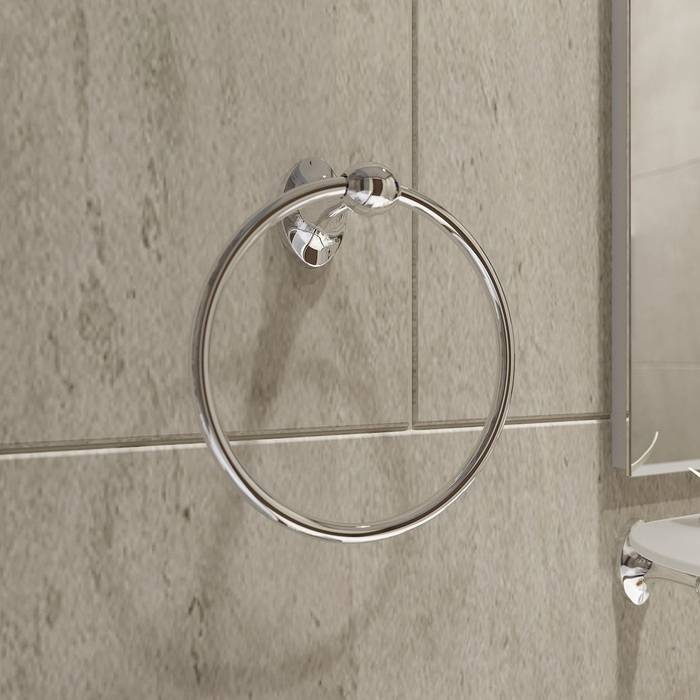 Фото Полотенцедержатель кольцо, сплав металлов, IDDIS Male MALSSO0i51, глянцевый хром 1