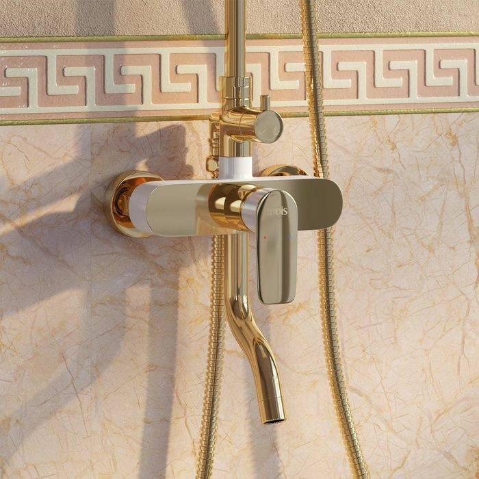 Фото Смеситель для ванны с верхним душем, IDDIS Cloud CLOWG00i06, золото/белый 2