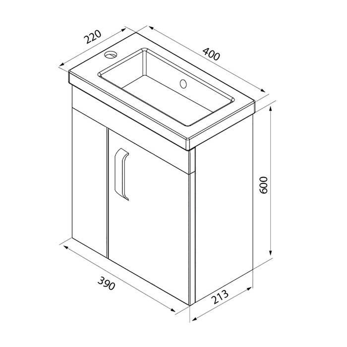Фото Тумба с умывальником для ванной комнаты, подвесная, 40 см, IDDIS Torr TOR40W1i95K, белая 6