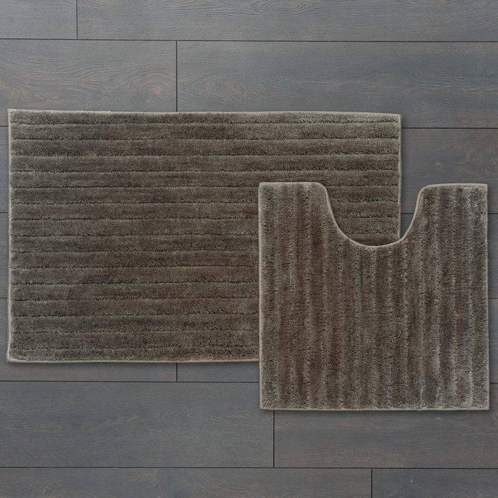 Фото Набор ковриков для ванной комнаты, 55x85 + 50x50 см, микрофибра, IDDIS Basic B17M585i12 1