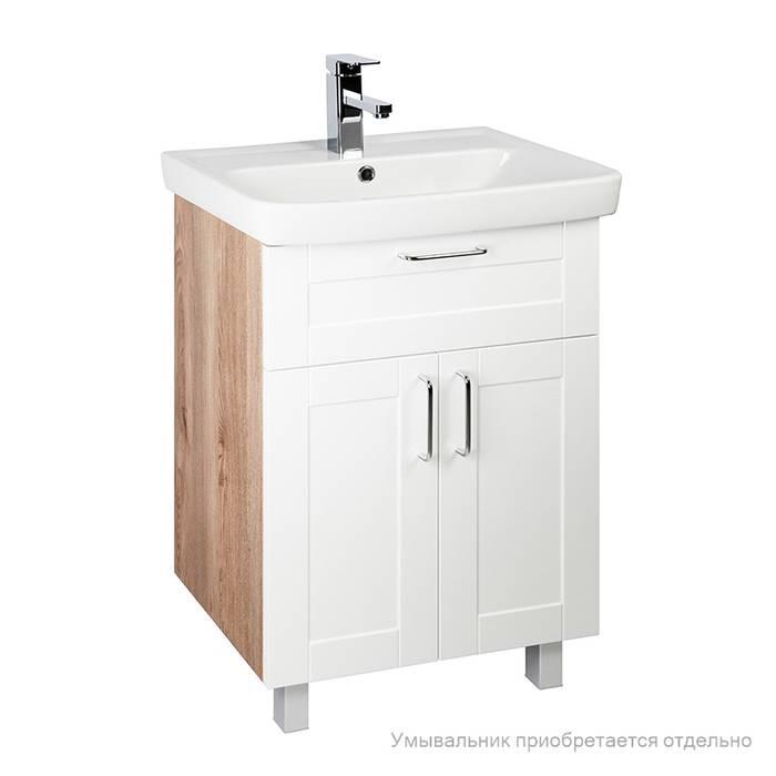 Фото Тумба для ванной комнаты, напольная, 60 см, подходит умывальник 0036000i28 IDDIS Sena SEN60W2i95, белая/под дерево 1