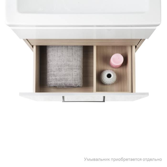 Фото Тумба для ванной комнаты, подвесная, 60 см, подходит умывальник 0016000U28 IDDIS Mirro MIR60W0i95, белая/под дерево 2