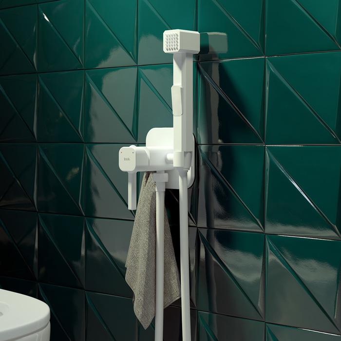 Фото Встраиваемый смеситель с гигиеническим душем, белый матовый, IDDIS, 004WTS0i08 1