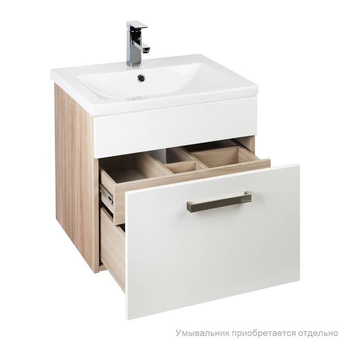 Фото Тумба для ванной комнаты, подвесная, 60 см, подходит умывальник 0016000U28 IDDIS Mirro MIR60W0i95, белая/под дерево 1