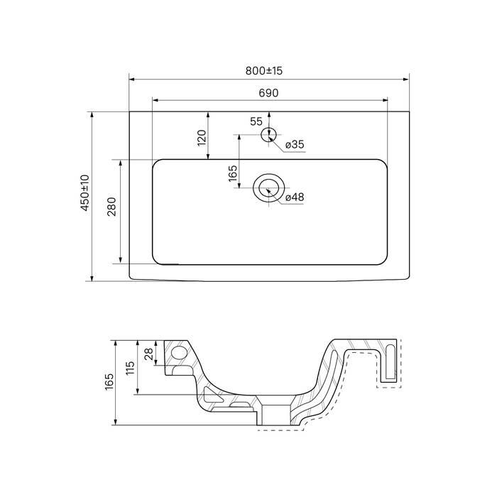 Фото Тумба с умывальником для ванной комнаты, подвесная, 80 см, IDDIS Mirro MIR80W0i95K, белая/под дерево 6