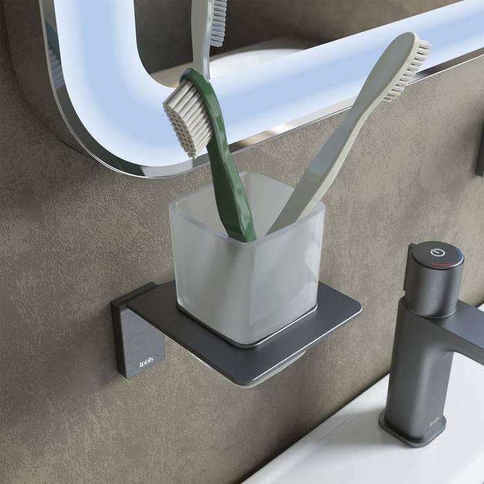 Фото Подстаканник одинарный матовое стекло, сплав металлов, IDDIS Slide SLIGMG1i45, графит 2