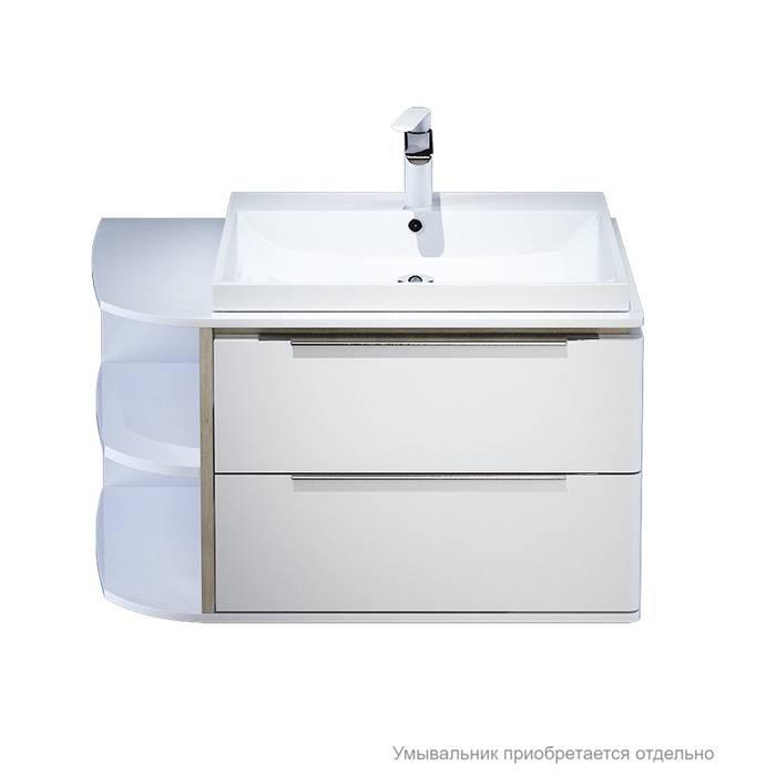 Фото Тумба для ванной комнаты, подвесная, 80 см, подходит умывальник 0066000i28 IDDIS Calipso CAL80W0i95, белая/под дерево 1