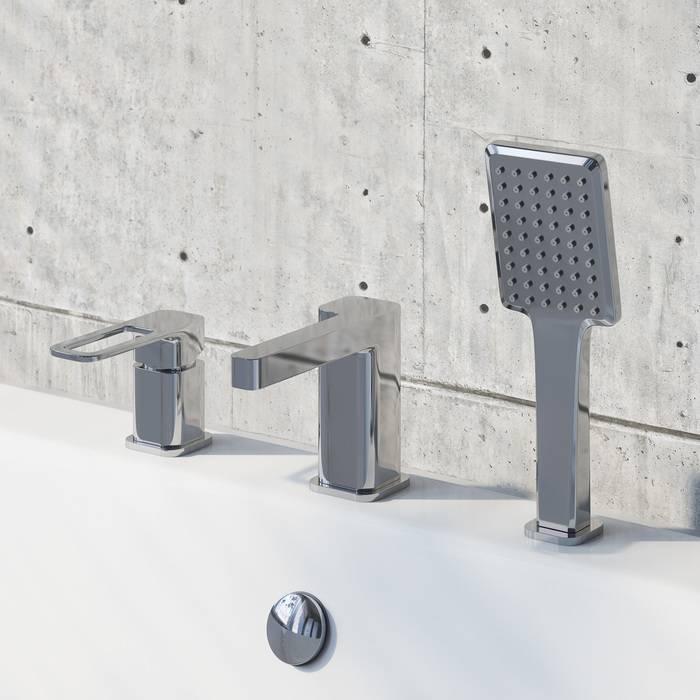 Фото Смеситель на борт ванны на 3 отверстия с керамическим дивертором, IDDIS Slide SLISB30i07, хром 1