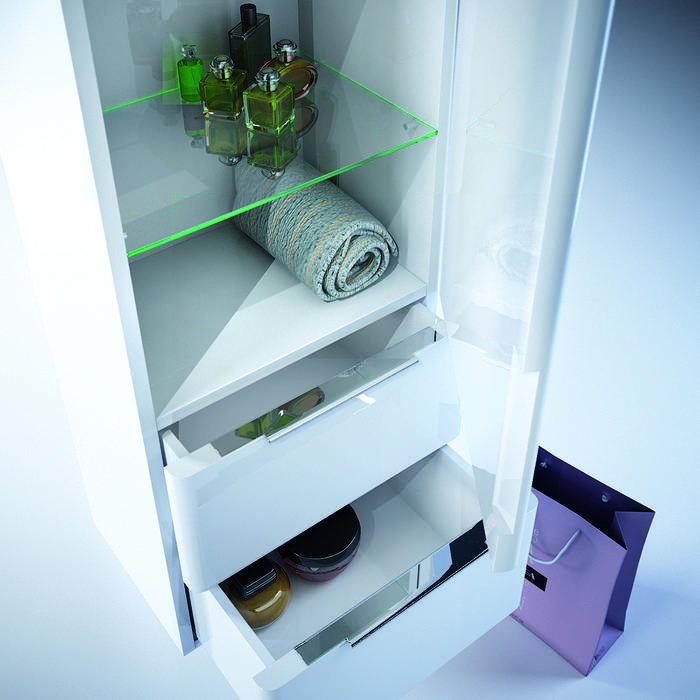 Фото Пенал для ванной комнаты, подвесной, 40 см, IDDIS Calipso CAL4000i97, белый 3
