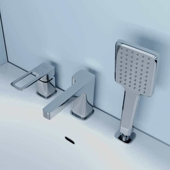 Фото Смеситель на борт ванны на 3 отверстия с керамическим дивертором, IDDIS Slide SLISB30i07, хром 2