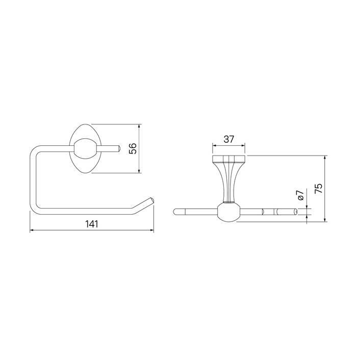 Фото Держатель для туалетной бумаги без крышки, сплав металлов, IDDIS Male MALSS00i43 3