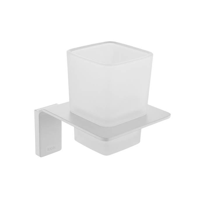 Фото Подстаканник одинарный матовое стекло, сплав металлов, IDDIS Slide SLIWTG1i45, белый матовый 0