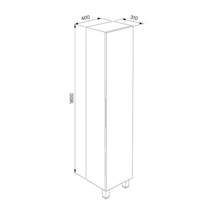 Фото Пенал для ванной комнаты, напольный, 40 см, IDDIS Harizma HAR4000i97, белый 5