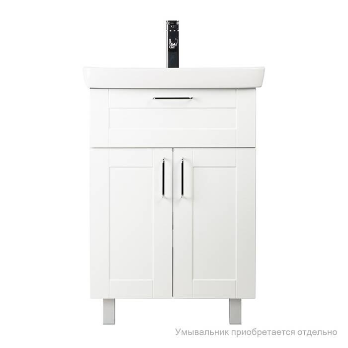 Фото Тумба для ванной комнаты, напольная, 60 см, подходит умывальник 0036000i28 IDDIS Sena SEN60W2i95, белая/под дерево 2