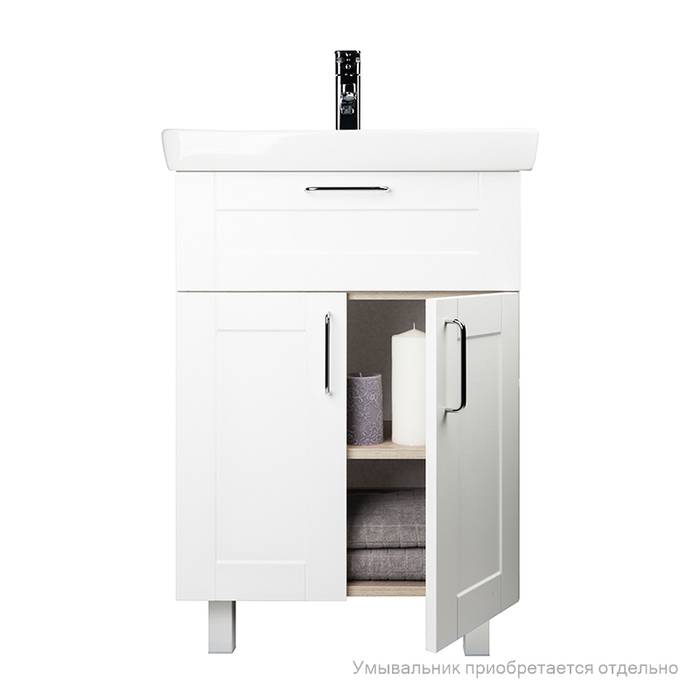Фото Тумба для ванной комнаты, напольная, 60 см, подходит умывальник 0036000i28 IDDIS Sena SEN60W2i95, белая/под дерево 3