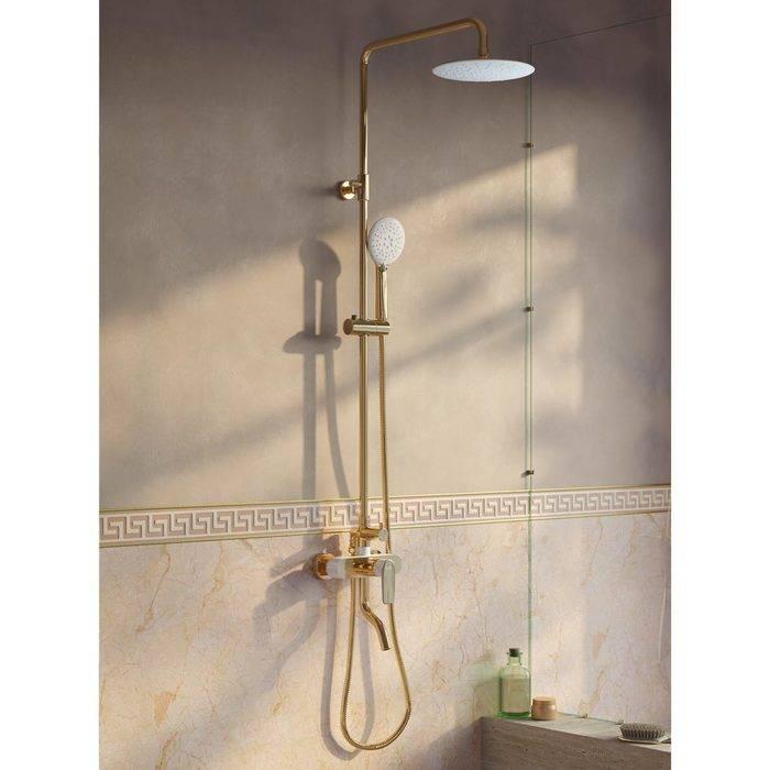 Фото Смеситель для ванны с верхним душем, IDDIS Cloud CLOWG00i06, золото/белый 1