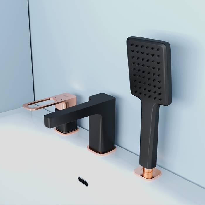 Фото Смеситель на борт ванны на 3 отверстия с керамическим дивертором, IDDIS Slide SLIBG30i07, черный 4